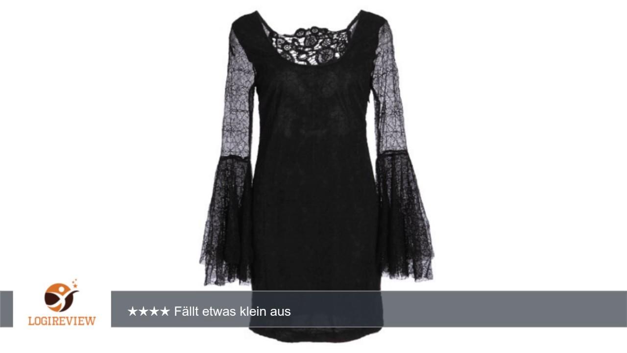 Schwarzes Kleid mit Trompetenärmeln aus Spitze mit Spinnen Muster ...
