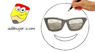 Cómo dibujar un emoji cool con gafas de sol   Emoticones Whatsapp paso a paso