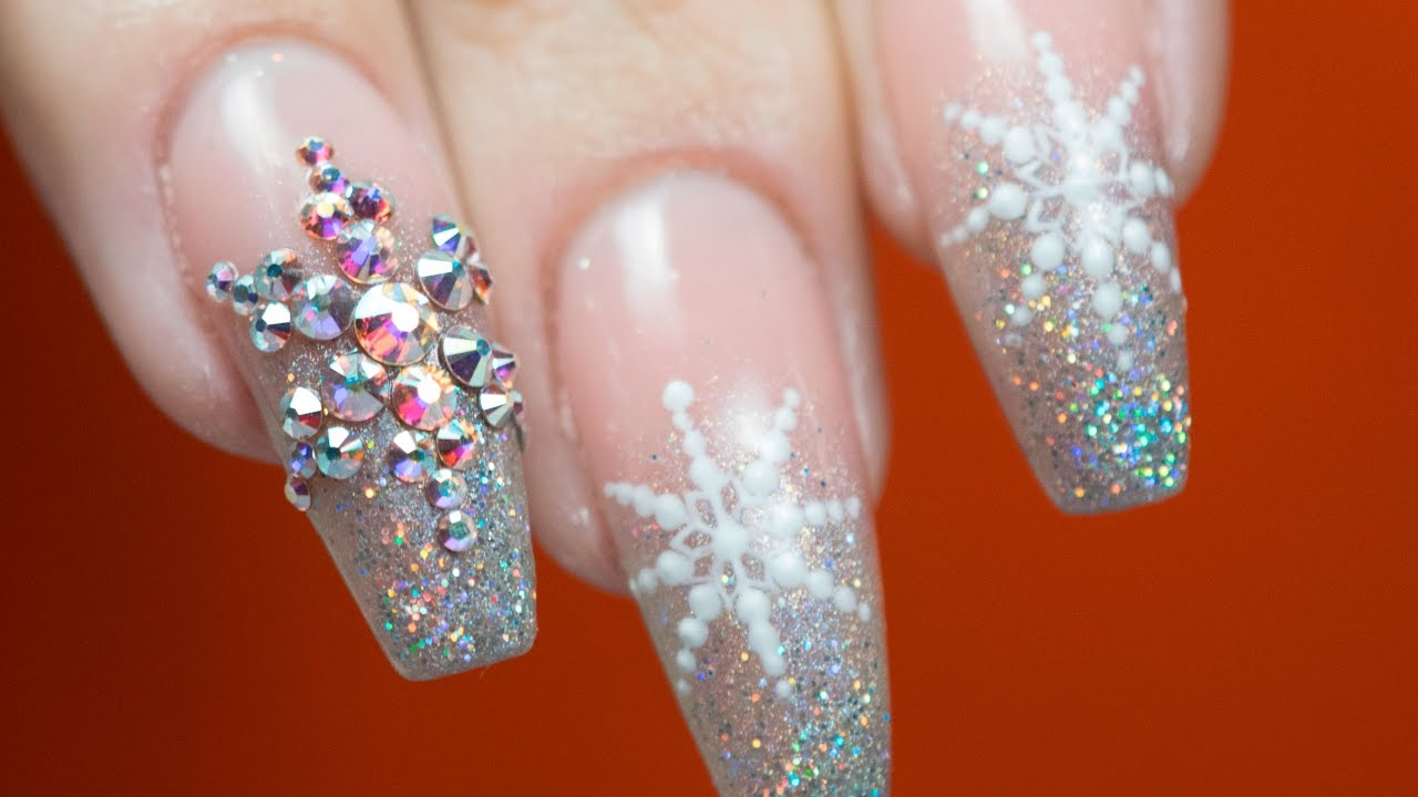 CHRISTMAS NAILS: Hard gel refill, reshape and Snowflake nailart ...
