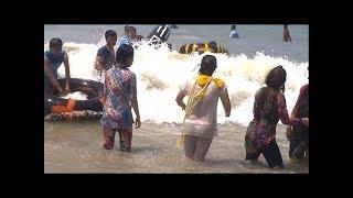 Girl bath on coxbazar sea beach
