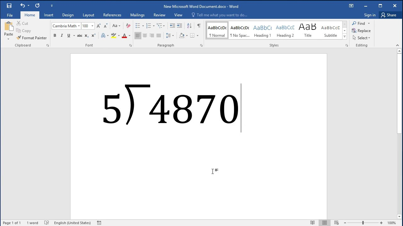 How to insert Long Division sign in Word