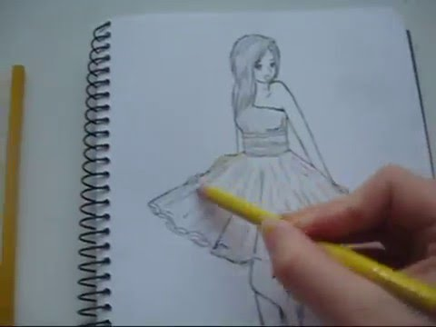 How to draw a girl in a yellow dress