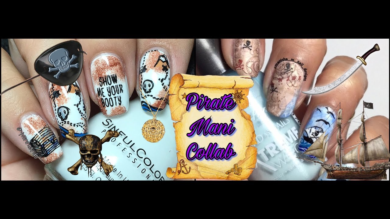 Pirate Map Nail Design Collab with Manisha M. Nail Designs - YouTube