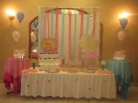 Mesa de dulces baby shower mixto youtube for Mesa dulce para baby shower