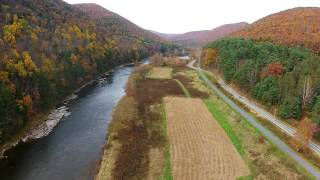 DJI Phantom video above Pine Creek in PA fall colors 1080p