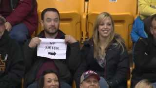 Repeat youtube video Guy Pulls Out Sign on Gophers Kiss Cam