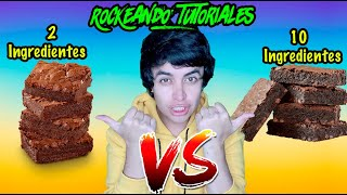 BROWNIE DE 2 INGREDIENTES VS. BROWNIE DE 10 INGREDIENTES   RockeandoTutoriales