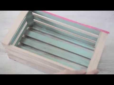DIY wooden crate shelves