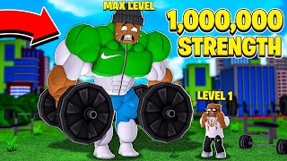 I am the STRONGEST PERSON in the WORLD with 1,000,000 STRENGTH!! (Roblox)