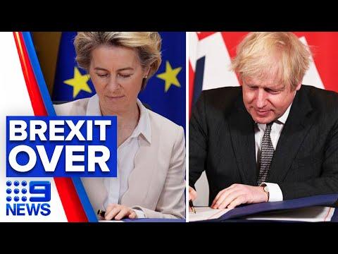 Britain's Brexit successfully exits European Union | 9 News Australia thumbnail