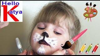 Рисуем кошку на лице (не судите строго, это первый раз)