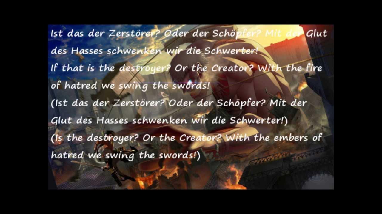 Attack On Titan Opening 3 Lyrics English