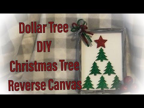 Dollar Tree DIY Christmas Tree Reverse Canvas 2019 Quick Easy FUN