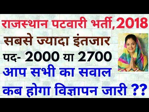 Rajasthan Patwari Vacancy 2018 | राजस्थान पटवारी भर्ती 2018 विज्ञापन कब होगा जारी