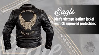 Video: LEATHER JACKET AGED EAGLE WITH PROTECTIONS CE