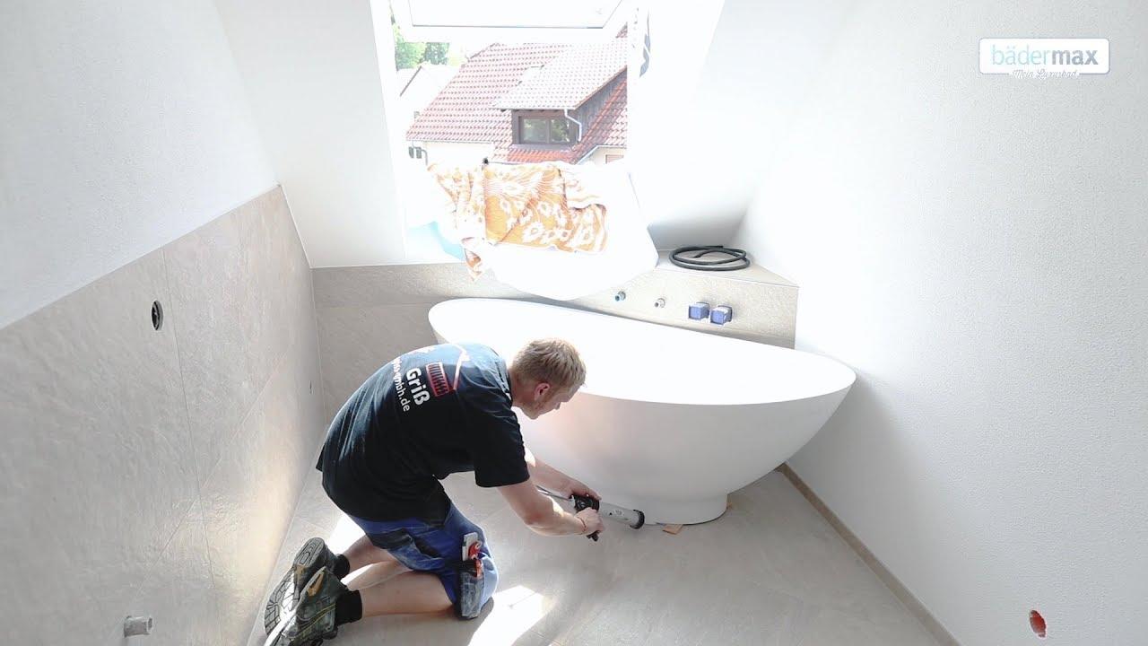 Aufbauanleitung fr freistehende Mineralguss Badewanne