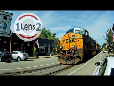 Freight Train Rolls Down Main Street In La Grange, KY