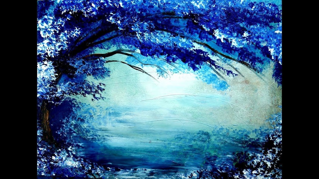 Painting tree in blue and white acrylic colors over it's ... - photo#6