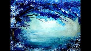 Painting tree in blue and white acrylic colors over it