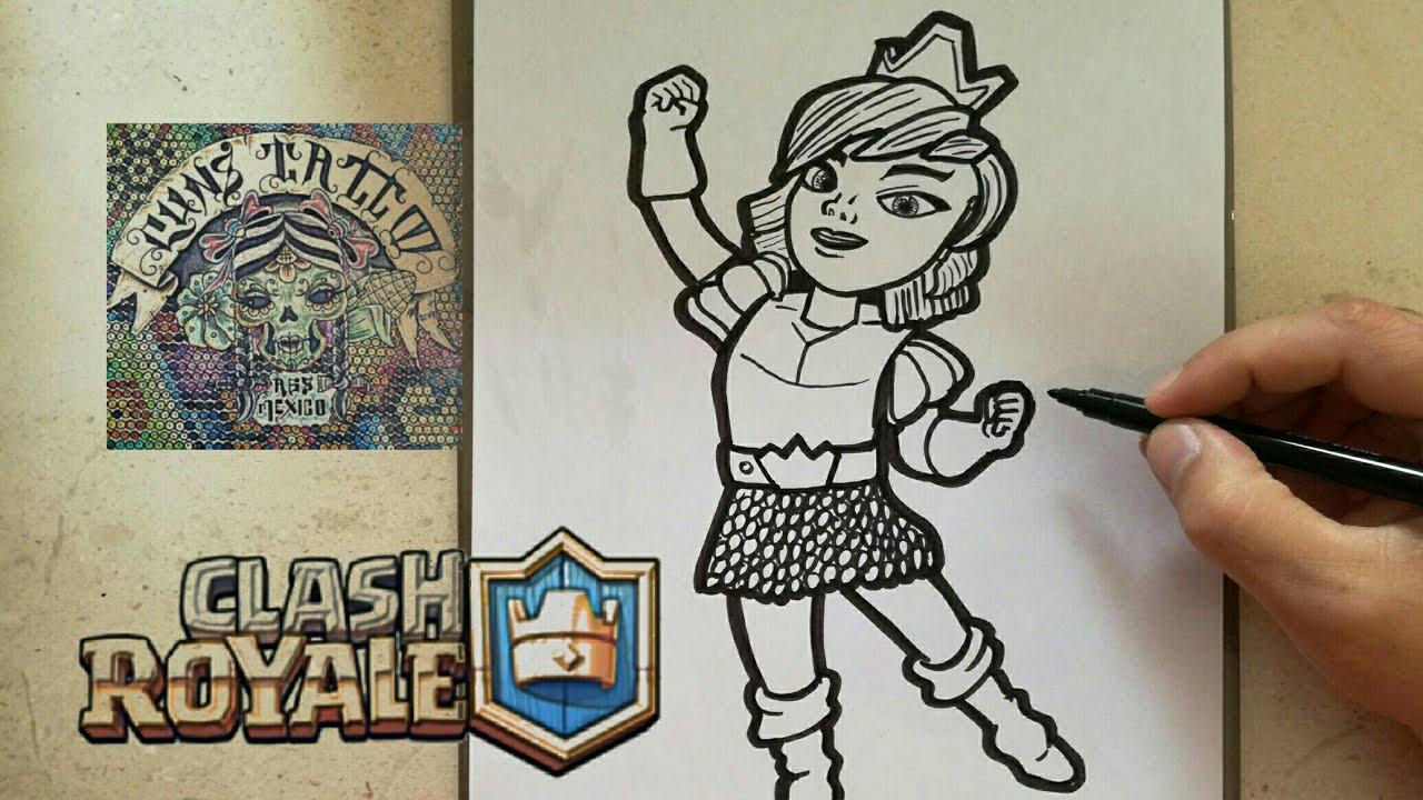 Como Dibujar A La Princesa Clash Royale How To Draw Princess Clash Royale