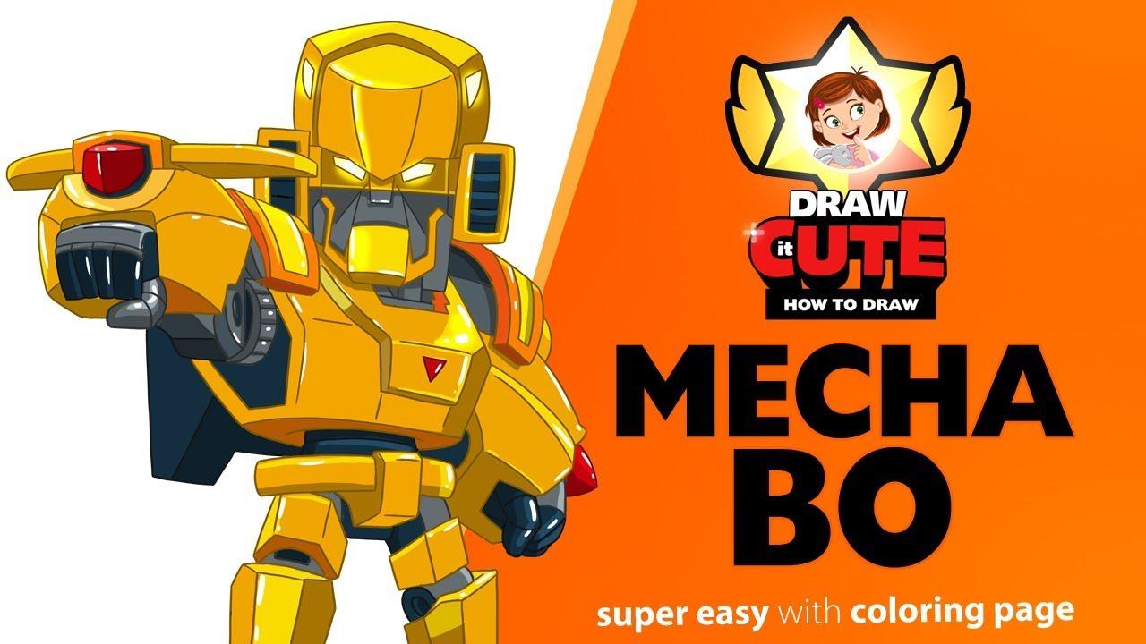 How to draw Golden Mecha Bo | Brawl Stars super easy ...