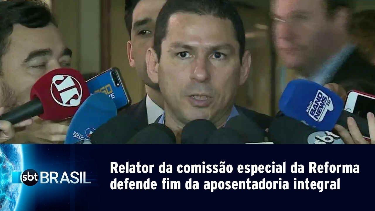 Relator da comissão especial defende fim da aposentadoria integral | SBT Brasil (30/04/19)