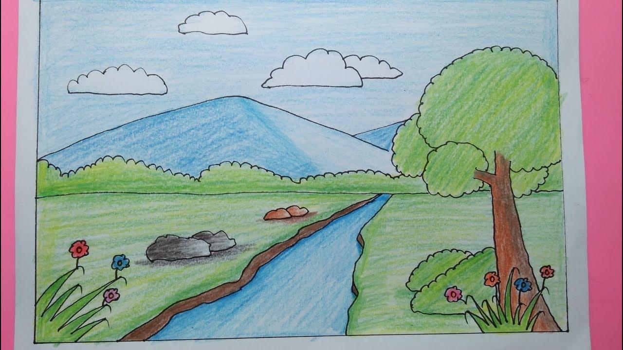 Cara menggambar pemandangan gunung - Belajar mewarnai ...