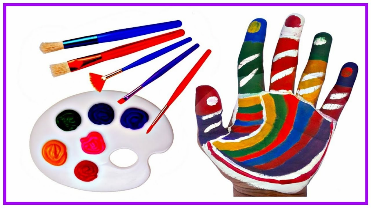 learn colors for children with body paint hand paint with water