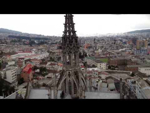 At the top of  a church in Quito