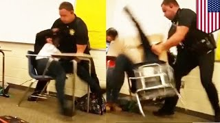 Napakowany policjant brutalnie aresztuje uczennicę w szkole