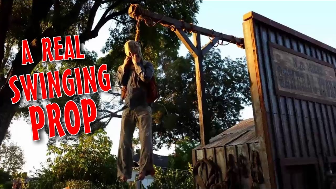 make a pneumatic thrasher hangman gallows prop diy halloween decorations youtube