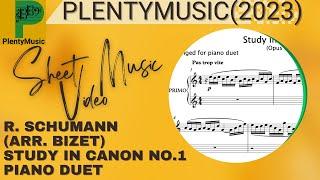 Schumann R. arr. Bizet   Canonic Study No 1 arr. piano 4 hands (piano duet)
