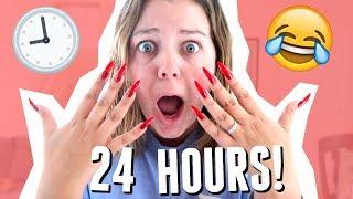 WEARING the LONGEST NAILS for 24 HOURS w/ Sierra Schultzzie