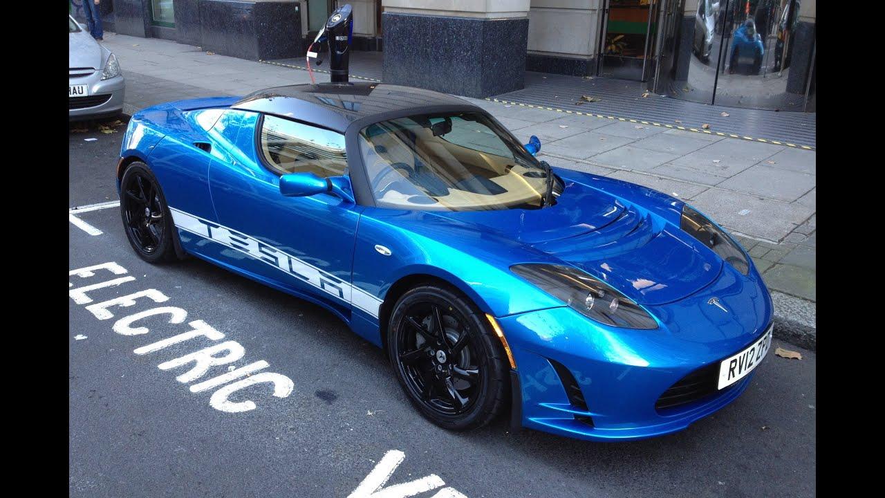 """Tesla """"Tesla Roadster"""" blue carbon roof black rims London ..."""