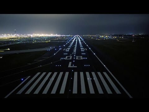 Airport Roissy Charles de Gaulle Paris aerial by night.©