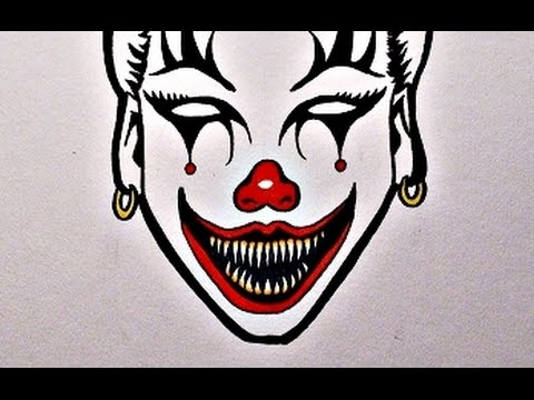 how to draw an evil clown girl youtube