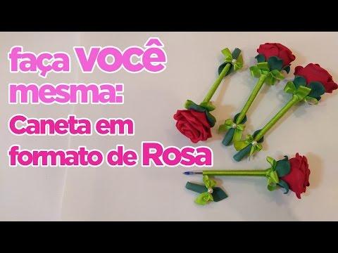 Como Fazer Caneta em formato de Rosa | Criatividades da Dê