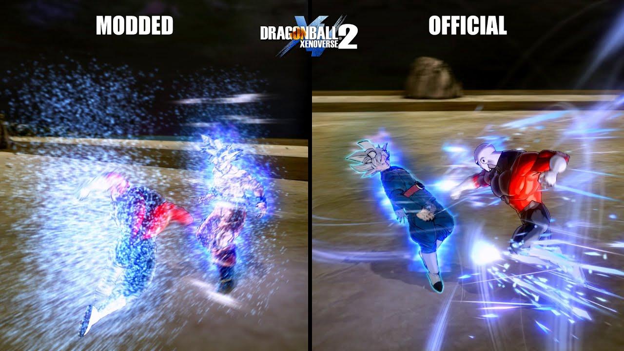 UI Goku Modded Vs Official Dodges (Comparison) - Dragon Ball Xenoverse 2