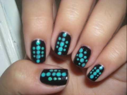 nail design idea black with aqua