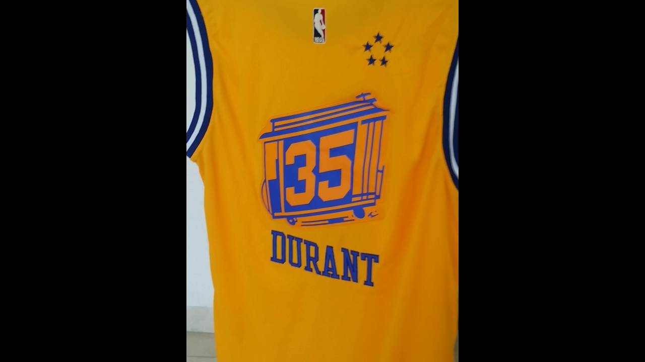 Warriors  35 Kevin Durant Gold Throwback The City Stitched NBA Jersey  dd0968b28