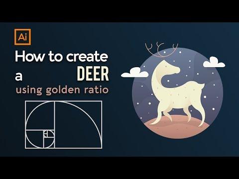 How to design deer logo using golden ratio || Adobe illustrator tutorial thumbnail