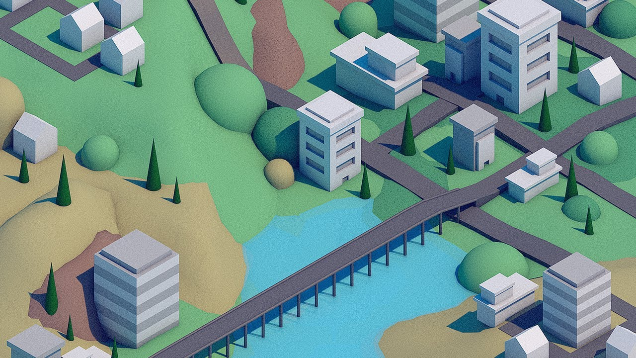 Low Poly City Scene Time Lapse - C4d Speed Art