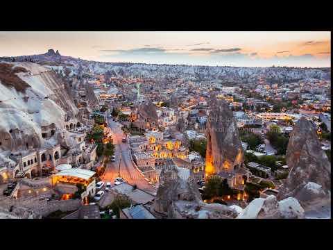 Timelapse view of Goreme village in Cappadocia at sunset in Turkey