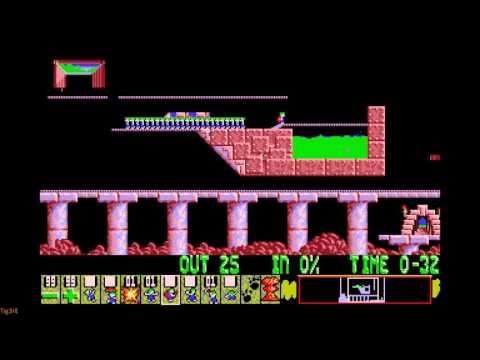 lemmings-(1991)---mayhem---level-03---it's-hero-time!