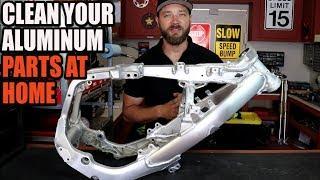 How to clean aluminum dirt bike frame at home. RMZ 450 build Part 6