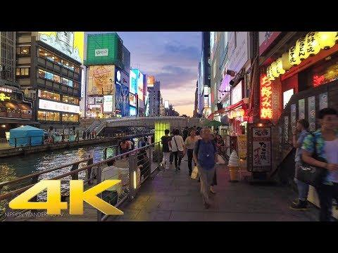 Walking around Dotonbori River, Osaka at dusk - Long Take【大阪・道頓堀川】 4K