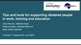 Tips and tools for supporting disabled people in work, training and education October 2019