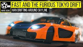 Grand Theft Auto 5 - Fast and the Furious Tokyo Drift: Han RX7 Drifting Around Skyline