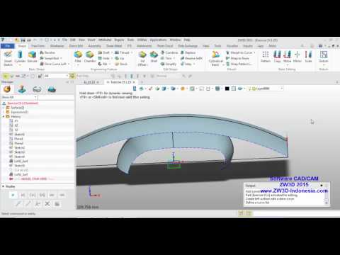 Using a Sketch, Extrude, Sweep Combination, Hole,and Drive Curve Loft in ZW3D
