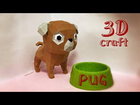🐕 Plantillas GRATIS - Perro PUG o Carlino en PaperCraft! DIY en 3D